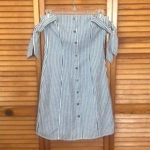 Striped nautical off the shoulder short dress